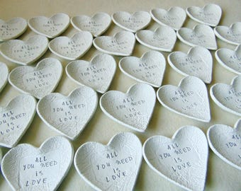 All You Need is Love, 50 Wedding Favors, Wedding Heart Dish Favors, Clay Wedding Favors, Ring Bearer Dish