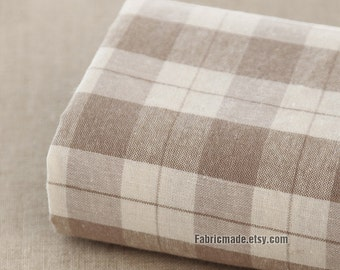 Pre Washed White Beige Plaid Linen Fabric, Classical Beige Plaid Fabric, Linen Cotton Blended  - 1/2 Yard