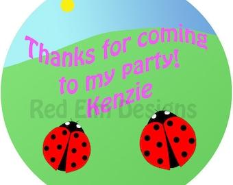 """Ladybug Stickers - Sheet of 20 - 2"""" round.  Ladybug Party Favors.  2 Inch Round Birthday Stickers.  Ladybug Party, Ladybug Baby Shower"""