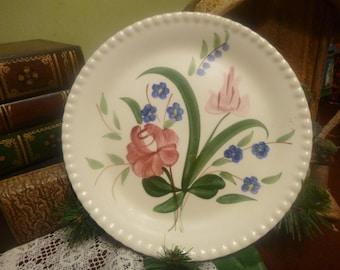 "Blue Ridge 9.25"" Bluebell Bouquet Dinner Plate,  Blue Ridge Pottery Company   (T)"