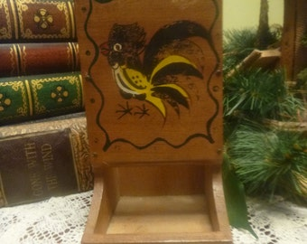 Wooden Rooster Match Holder,  Wood Pecker Woodware Hand Painted Japan