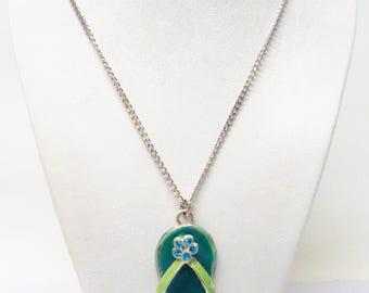 Green Enamelled Flip Flop Sandal/Rhinestone Pendant Necklace