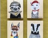 Choose ONE Millannial art block. Original animal painting. Sloth. Mouse. Fox. Badger.