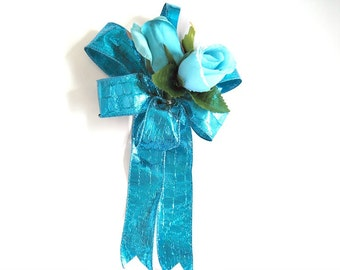 Masculine gift bow, Turquoise Father's Day bow, Gift wrapping bow, Bow for men, Home decor, Bow for wreaths, Large gift wrap bow (HB110)