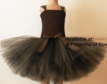 Brown Tutu Dress, Brown Flower Girl Dress, Brown Tulle Dress