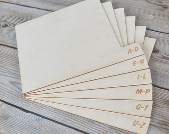 Horizontal Alphabetical Birch Vinyl Record Dividers (Set of 6)