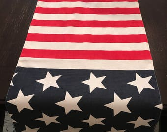 Patriotic Home Decor | RED WHITE BLUE | 4th of July Table Runner | Memorial Day Table Runner