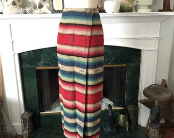 90s Retro Serape Print Wrap Skirt
