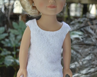 White lace shift dress for 18 in doll