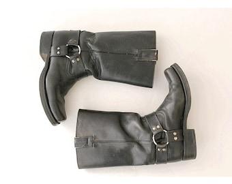 GoWest leather biker boots  euro 41  Us men 7.5 Black leatherToe Harness boots