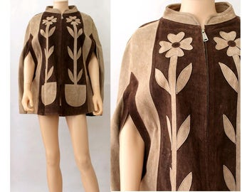 1970 suede leather Cape Poncho floral brown / 70s leather cape patchwork