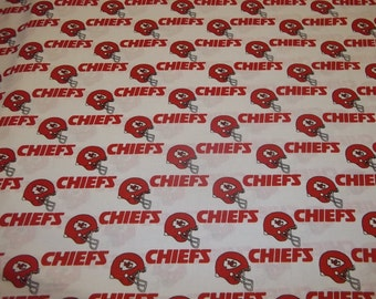 KANSAS CITY CHIEFS   -  Nfl Football  Fabric 1 Yard   Piece Red and White 100% Cotton Oop