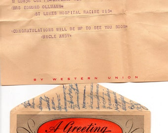 "Vintage 3EAWestern Union Telegram ""Congratulations"" Birth of a Child Undated & Birthday Greeting to Son Beautiful Paper Marked Western Union"