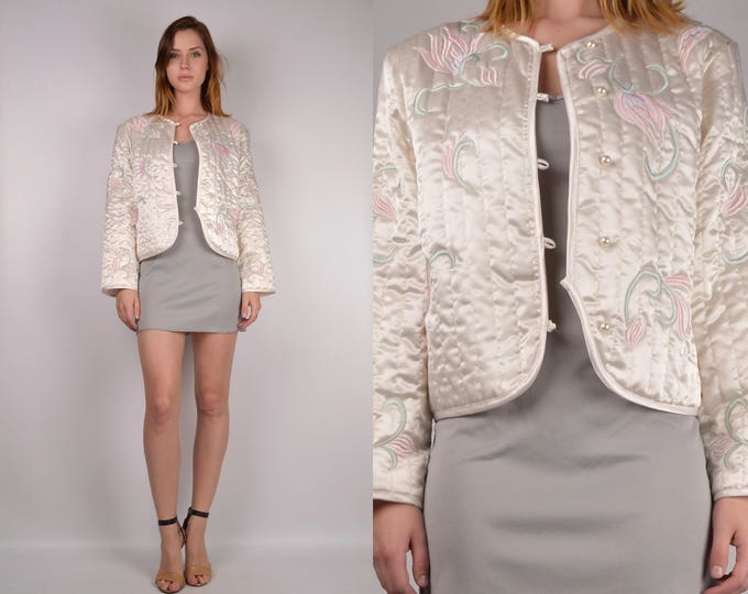 Satin Quilted & Embroidered Jacket
