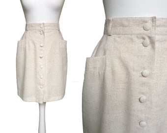 90's Ecru Skirt - Vintage Skirt - Hip Pockets - Cream Natural - Button Up Short Skirt