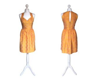 Gold Vintage Dress - Party Dress - XS - Shot Silk Dress
