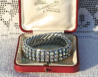 Beautiful Sparkling Vintage Empire Made Aurora Borealis Rhinestone Elasticated 1950s Bracelet