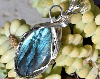 Labradorite Stone, Labradorite Pendant, Argentium Sterling Silver Wire Wrapped, Handmade Jewelry, Blue Stone Necklace Free Shipping USA