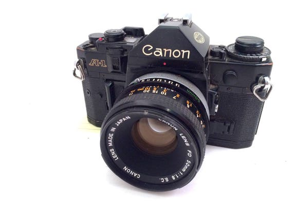 Canon A-1 Black 35mm Film Camera with Canon 50mm Lens