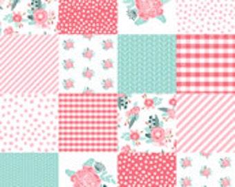 Peonies Patchwork Minky Blanket or Quilt