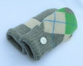 Wool Mittens - Lime Green/Ivory/Grey - Argyle - Felted Sweater MIttens - Felted Wool Mittens - Womans - Medium