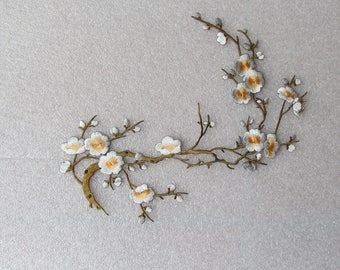 White and Yellow Cherry Blossom applique - iron on or sew on