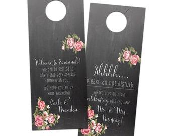 Wedding door hanger rustic chalkboard floral hotel wedding sign for guests destination wedding  - bridal do not disturb privacy door sign