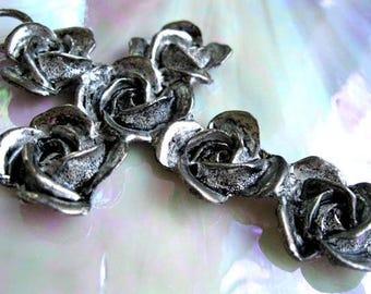 Black Roses Cross Pendant, Silver Rose Vampire Goth Necklace, Large Carved Flowers, Pewter Floral Bouquet, Dias de los Muertos, Signed EH