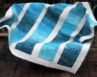 Quilt - Lap Quilt - Sea Breeze Batik Quilted Lap