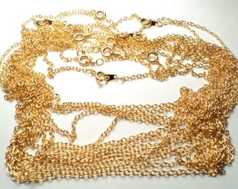 "12 pcs - Gold plated 16"" cable Neckchains - m13"