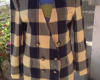 Vintage Hipster 80s Vanessa Leigh ladies yellow & navy plaid double breasted blazer size 10 free domestic shipping