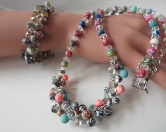 Viva beads hand made polymer clay necklace  bracelet jewelry set demi parure