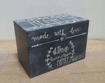 Recipe Box, Custom Chalkboard Recipe Box, Made With Love, Hand Painted