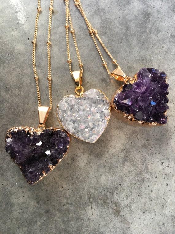 Druzy Heart Necklaces, crystal heart necklaces, boho, valentine jewelry