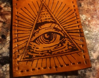 Small Leather Patch, Leather Pyrography.