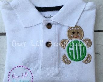 Gingerbread Polo - Christmas Polo - Christmas Gingerbread Polo - Gingerbread Monogram - Monogram - Boys Christmas Shirt