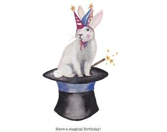 A magical birthday bunny single card