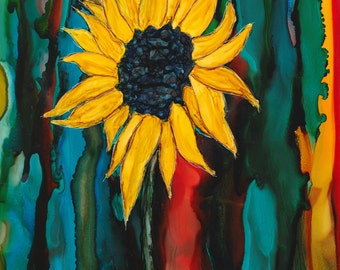 "Ink Painting, ""Sunflower"", print, matted, backed, ready for framing"