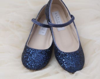 Infant Girl Shoes, Toddler Shoes, Little Kids and Big Kids Shoes- Navy rock glitter mary-jane flats - Flower Girls Shoes