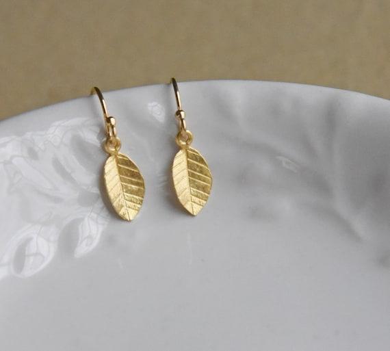 Dainty Gold Leaf Earrings, Little Drop Earrings, Everyday Gold Dangle Earrings, Silver Dangle Earrings, 14k Gold Fill, Vermeil