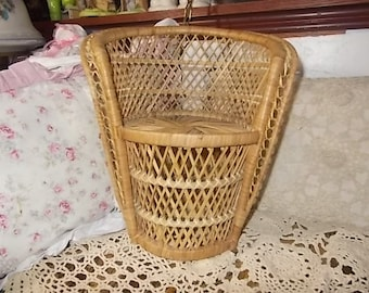 Doll Chair,Vintage Wicker Rattan Doll Chair,Doll Furniture,Big Doll Furniture, Doll Accessory's,Dolls, Toys,Vintage Toys, :)s