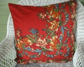 "Vintage Pillow Shams, Pair of Shams, Pillow Covers, Provence Style, Red Floral Print, 24 x 24"" French Country"