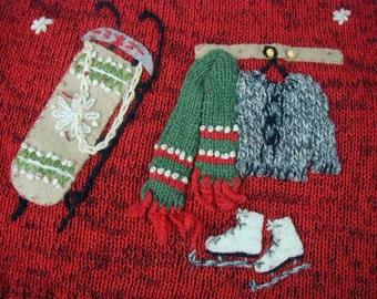 Vintage Coldwater Creek Christmas Sweater, Cardigan, Zip-Up, Size Medium Ladies