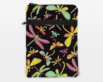 """Galaxy Tab Pro Case, Kindle Fire HDX Cover, iPad Pro 9.7"""" Zipper, iPad Air 2 Case, Surface Book Sleeve - green purple dragonflies in black"""