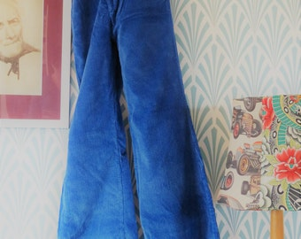 2pcs vintage Siclat flared corduroy pants blue - Size Teenagers EU152 / Women EU34