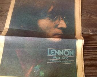 1980 John Lennon Tribute Chicago Tribune Newspaper Beatles McCartney Harrison Ringo