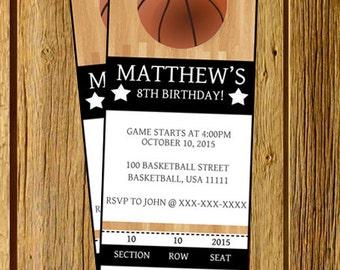 Basketball invitation, Basketball birthday invitation, Basketball party, Basketball Ticket Birthday invitation. Printable JPEG 2.5x7