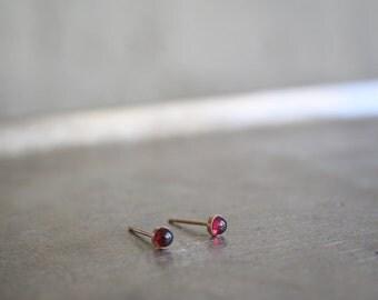 Garnet earrings, Garnet stud earrings ,Minimalist stud earrings, Tiny gemstone earrings, Dot stud earrings ,Red stone studs, Tiny studs