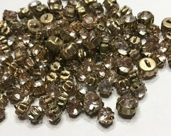 10 piece Vintage assorted rhinestone button mix, 7-10 mm (B5)