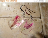 SALE Chive Flower Dangle Earrings, dangle earring, plant jewelry, flower jewellery, clacked ice style, surgical steel hook, pink, herb
